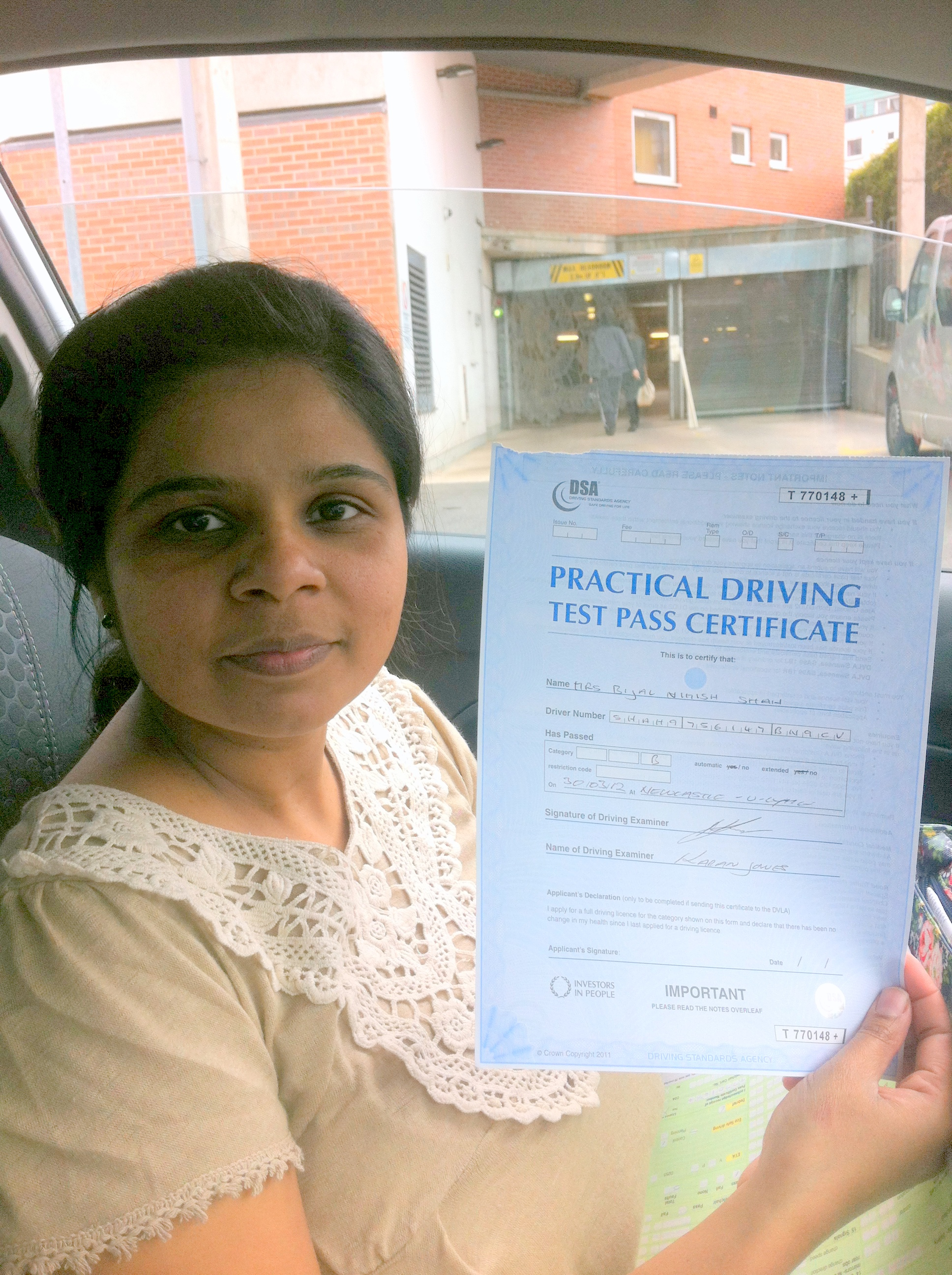 Bijal Passed with Drive Ahead School of Motoring